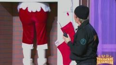ролик уральских пельменей Дед Мороз в камине